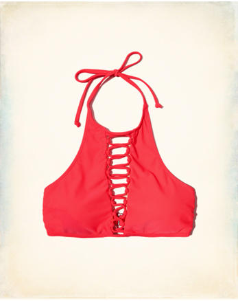 hol Lace-Up Halter High-Neck Bikini Top