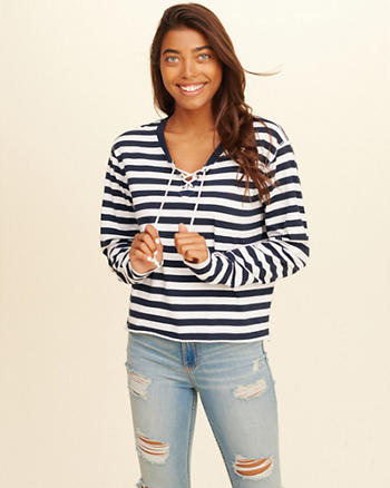 Stripe Lace-Up T-Shirt