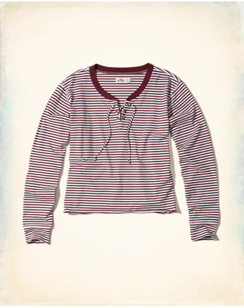 hol Stripe Lace-Up T-Shirt