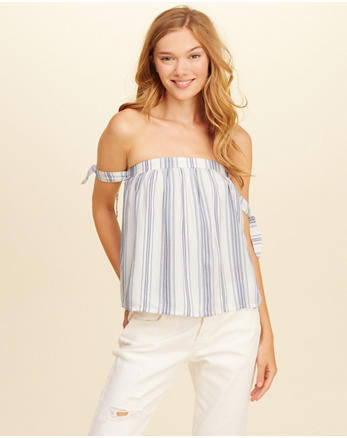 hol Tie-Sleeve Off-The-Shoulder Top