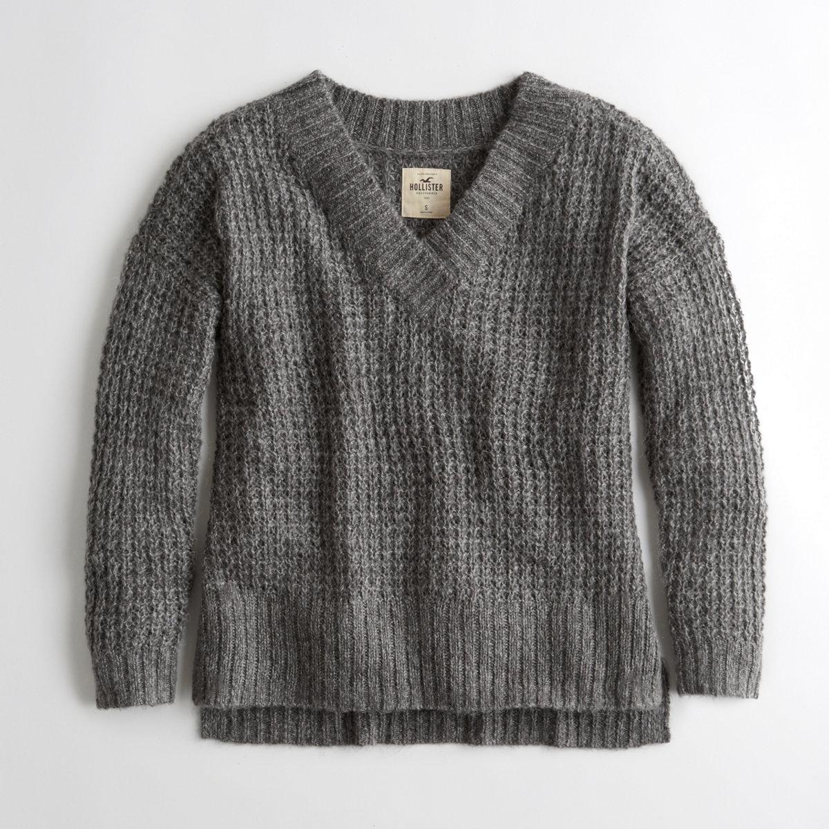 Oversized Waffle V-Neck Sweater