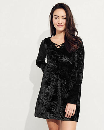 Bell-Sleeve Strappy Velvet Dress