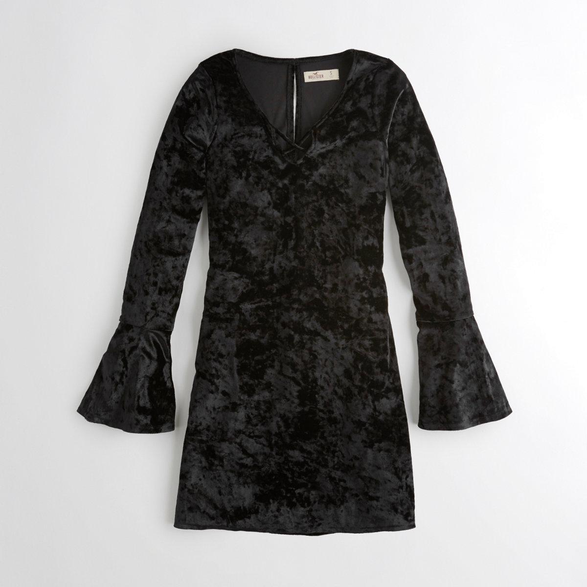 Bell-Sleeve Strappy Velvet Dress