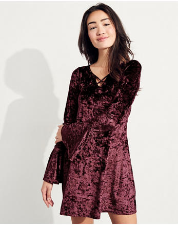 hol Bell-Sleeve Strappy Velvet Dress