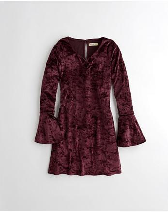 hol Bell-Sleeve Strappy Velvet Dress