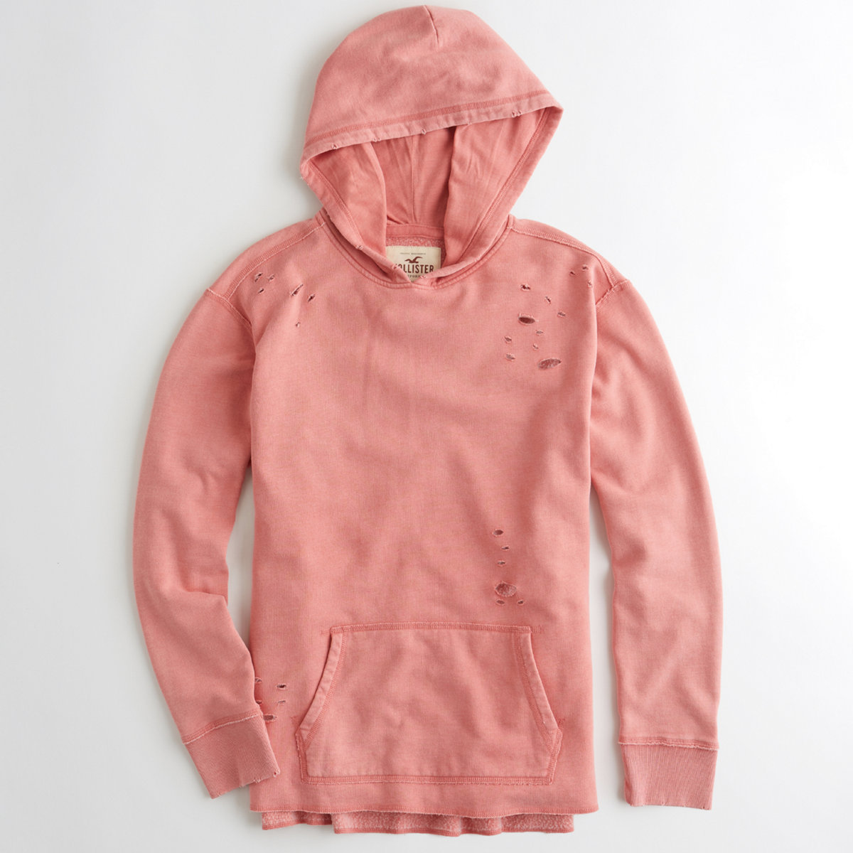 Garment-Dyed Ripped Hoodie