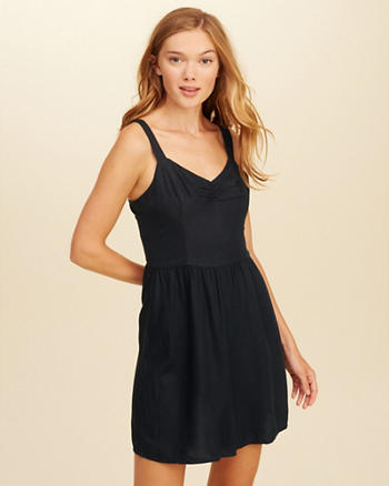 Lace-Up Back Woven Dress