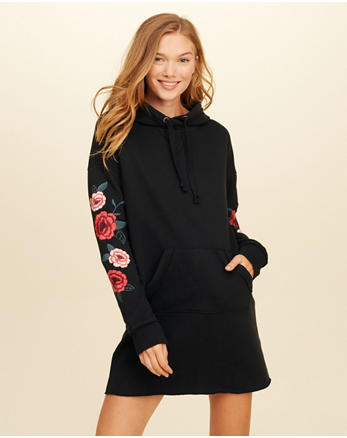 hol Embroidered Sweatshirt Dress
