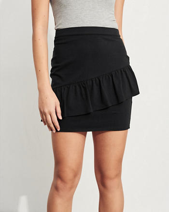 Ruffle Knit Bodycon Skirt