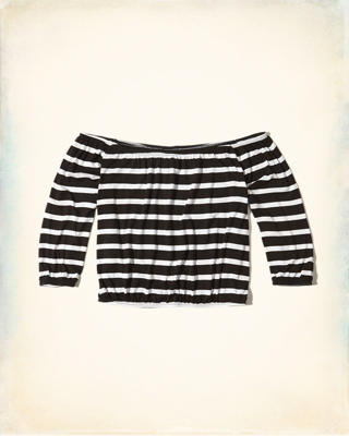 Stripe Off-The-Shoulder Top