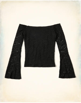 hol Bell-Sleeve Off-The-Shoulder Top