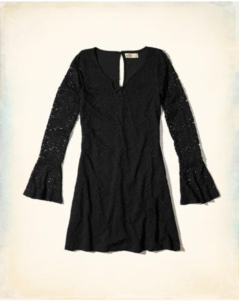 hol Bell-Sleeve Lace Dress