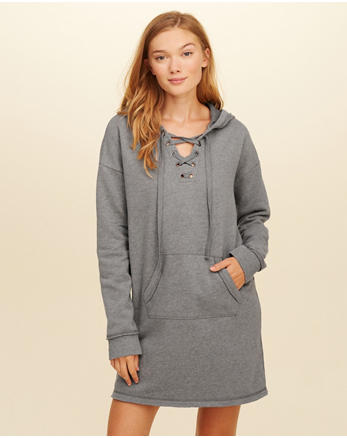hol Lace-Up Sweatshirt Dress