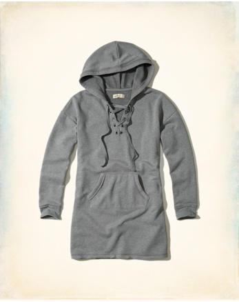 hol Lace-Up Sweatshirt Dress