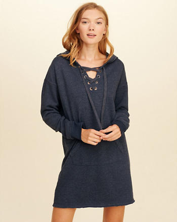 Lace-Up Sweatshirt Dress