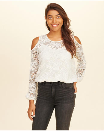 hol Lace Cold Shoulder Top
