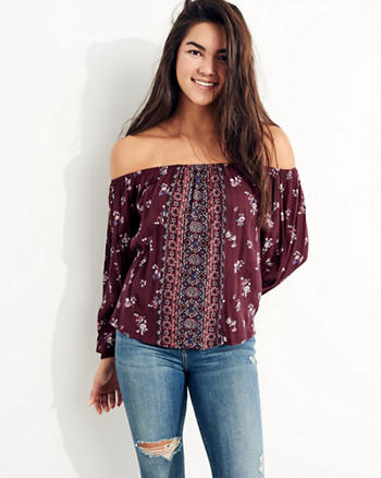 Rayon Off-The-Shoulder Top