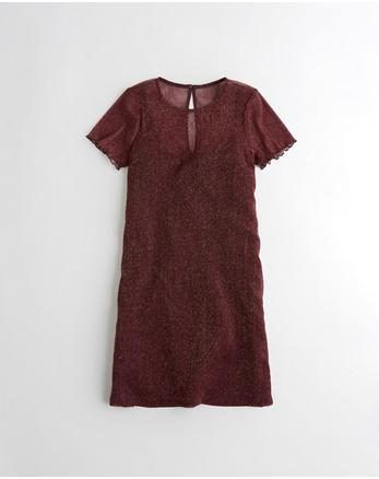 hol Shine Mesh T-Shirt Dress