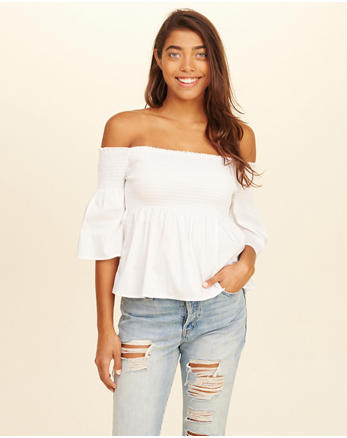 hol Smocked Poplin Off-The-Shoulder Top