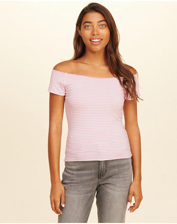 hol Stripe Off-The-Shoulder Top