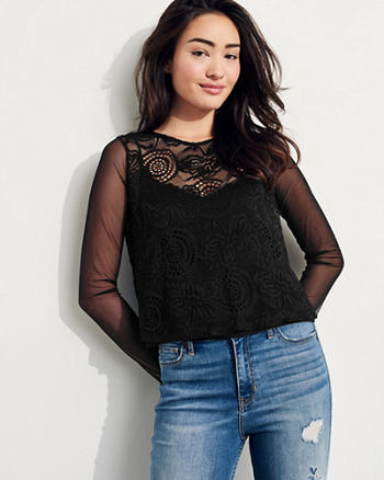 Mesh-Sleeve Lace Top