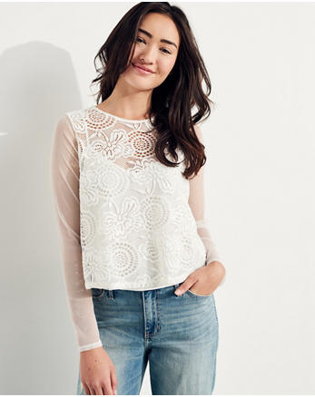 hol Mesh-Sleeve Lace Top