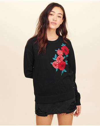hol Embroidered Crewneck Sweatshirt