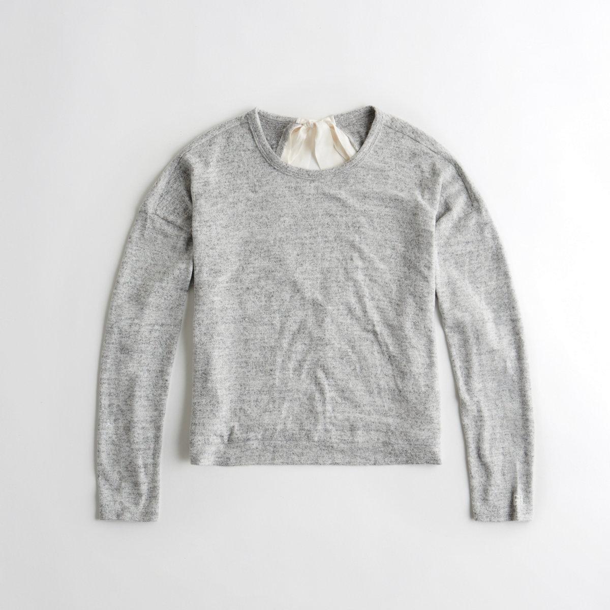 Open Bow-Back Crewneck Sweatshirt