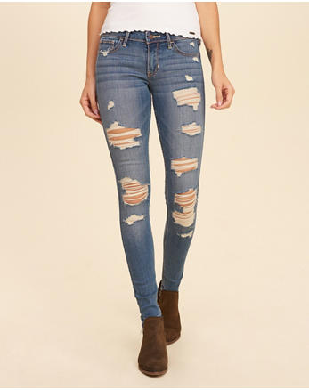 hol Shredded Low-Rise Super Skinny Jeans