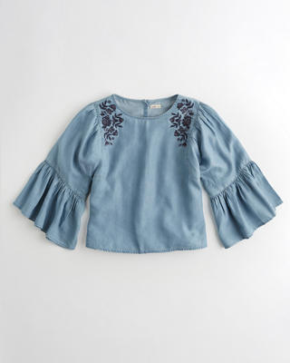 Embroidered Oversized Ruffle-Sleeve Top