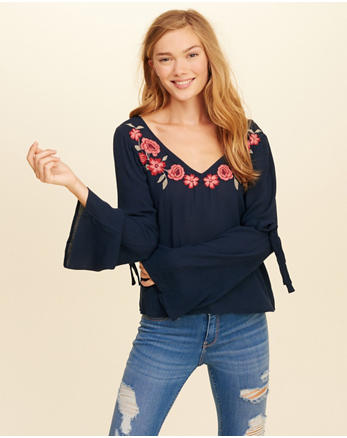 hol Embroidered Bell-Sleeve Top