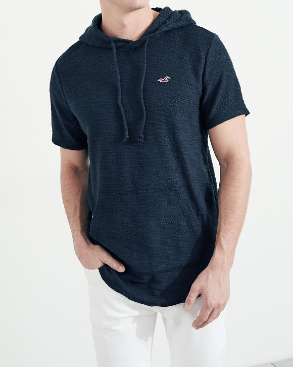 Boucle Short Sleeve Hooded T Shirt by Hollister