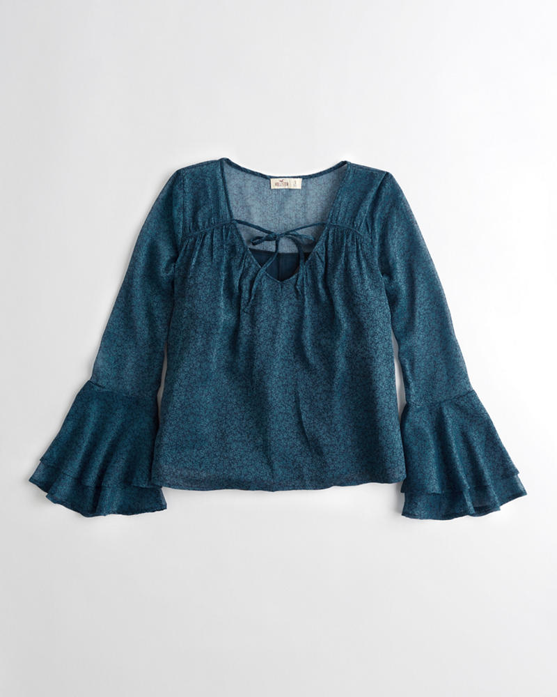 8496cabbcd5 Girls Bell-Sleeve Chiffon Top