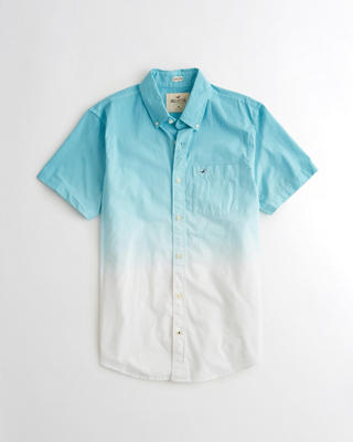 Stretch Short-Sleeve Dip-Dye Poplin Shirt