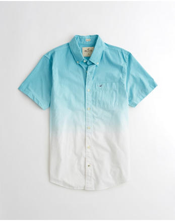 hol Stretch Short-Sleeve Dip-Dye Poplin Shirt