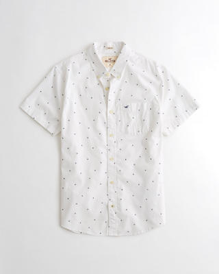 Stretch Short-Sleeve Patterned Poplin Shirt