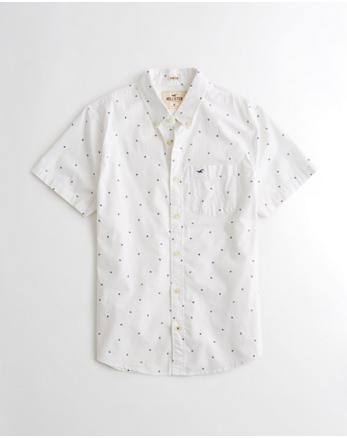 hol Stretch Short-Sleeve Patterned Poplin Shirt