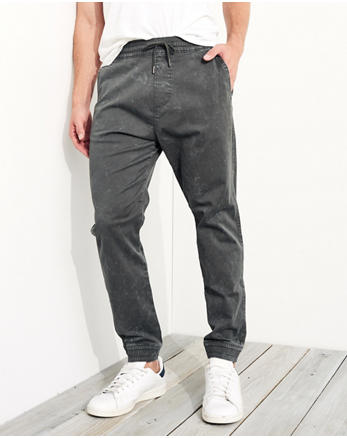 hol Acid Wash Twill Jogger Pants
