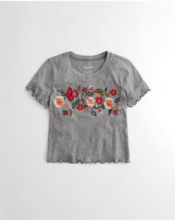 hol T-shirt graphique court brodé