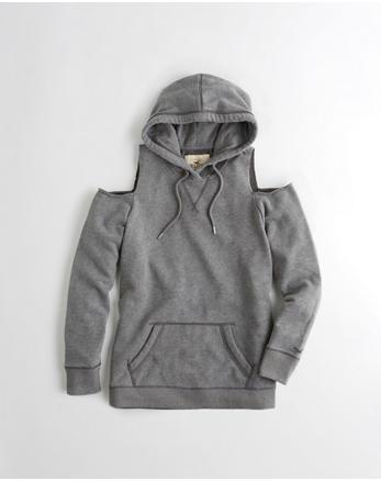 hol Garment-Dyed Cold Shoulder Oversized Hoodie