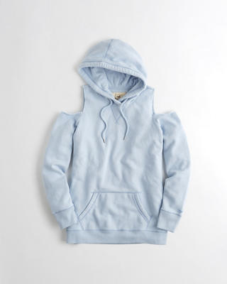 Garment-Dyed Cold Shoulder Oversized Hoodie