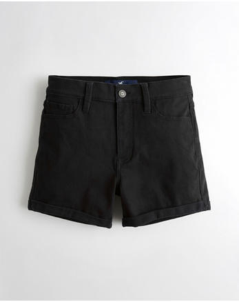 hol Stretch High-Rise Twill Midi Shorts