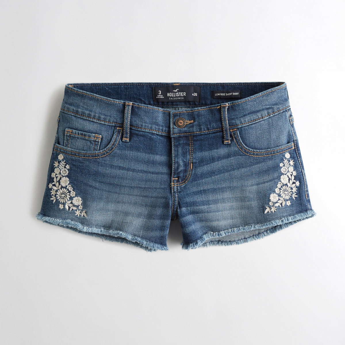 Stretch Low-Rise Denim Short-Shorts