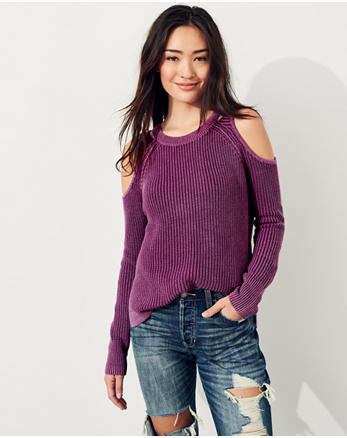 hol Garment-Dyed Cold Shoulder Sweater