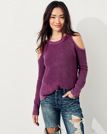 Garment-Dyed Cold Shoulder Sweater