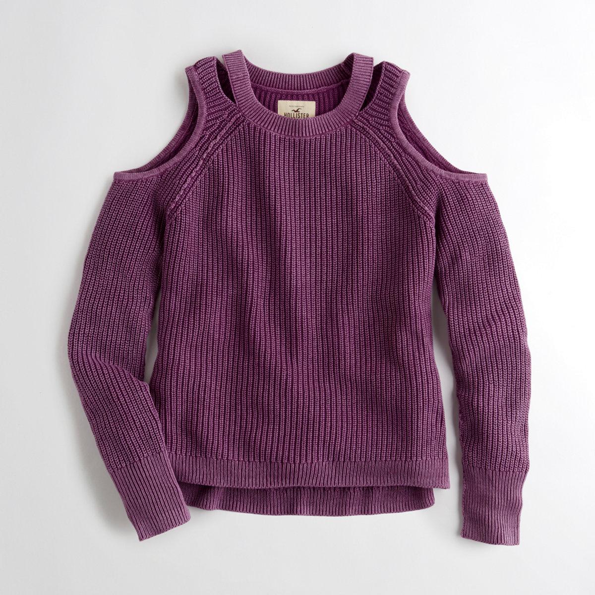 Garment-Dyed Cold Shoulder Sweater
