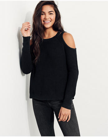 hol Cutout Cold Shoulder Sweater