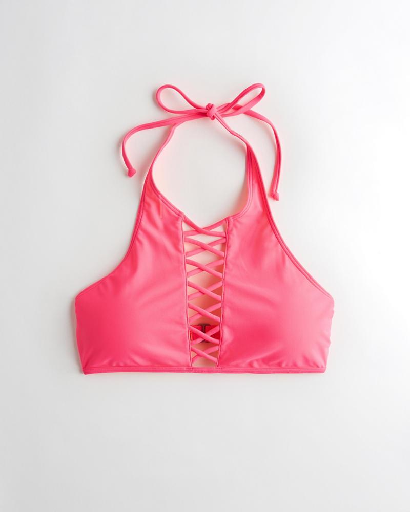 fa5e8c2200e5b5 Girls Strappy Halter High-Neck Bikini Top