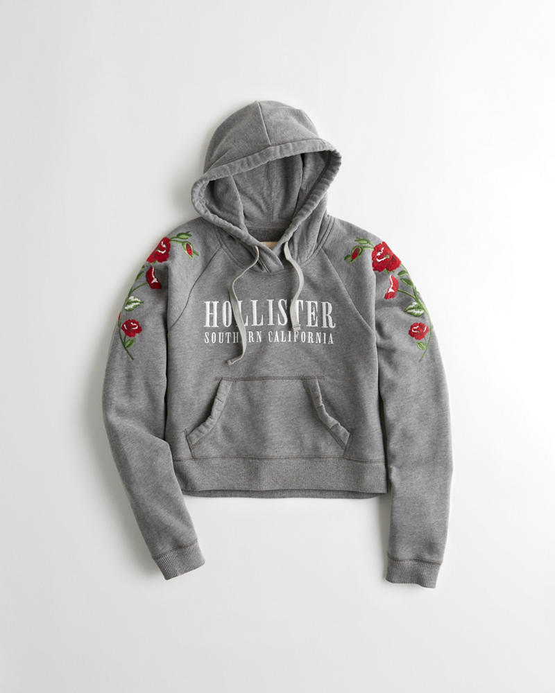 Hollister Sweaters Hollister Hoodies Hollister Shirts Hollister Jacket Hollister Pants Hollister Jeans: Girls Embroidered Graphic Boxy Hoodie
