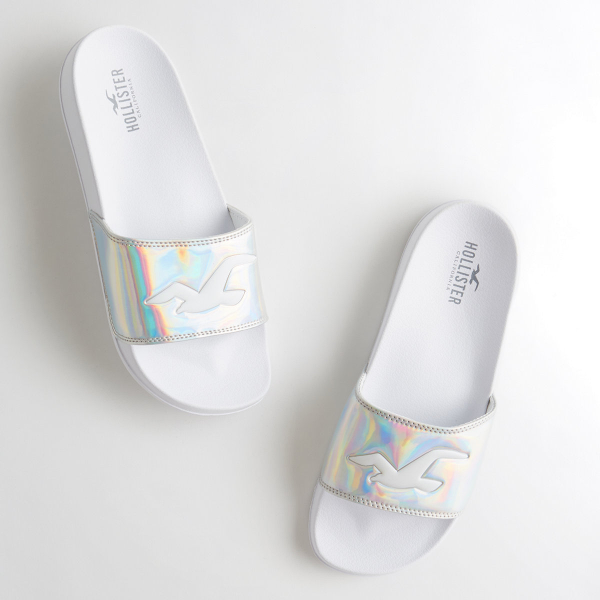 Iridescent Slide Sandals
